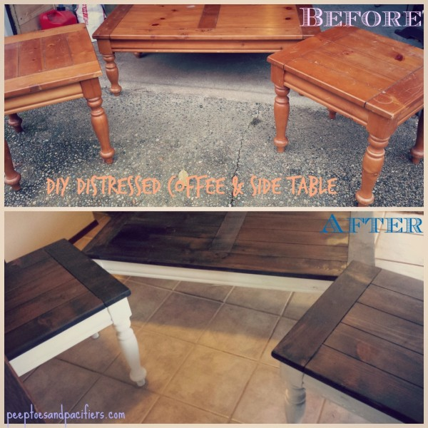 Distressed coffee side table diy peep toes and pacifiers for Diy coffee and end tables